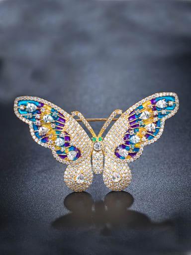 Colorful Zircon Butterfly Brooch
