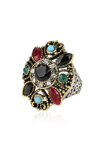 Retro Ethnic style Resin stones Double Color Plated Alloy Ring