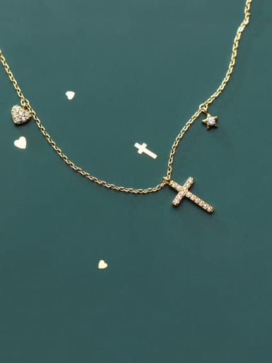 925 Sterling Silver With Cubic Zirconia  Simplistic Cross Necklaces