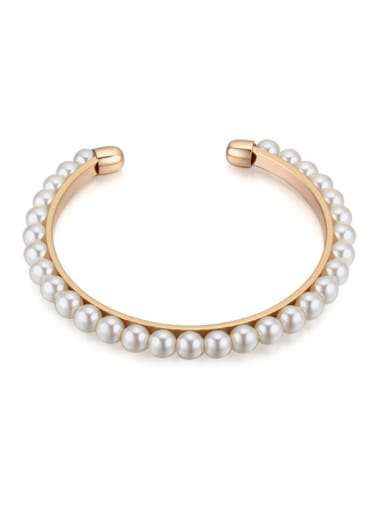 Simple White Imitation Pearls-covered Alloy Opening Bangle
