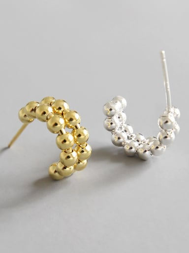 Sterling Silver Compact Beaded ear studs