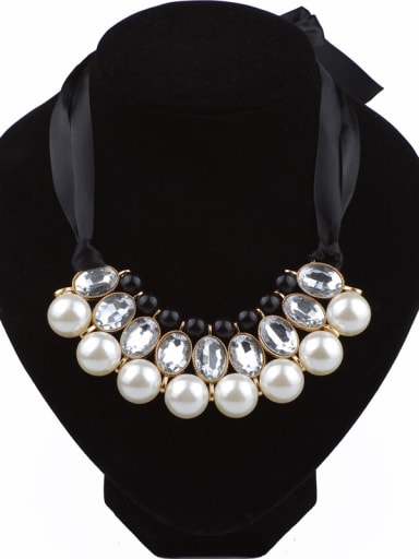 Fashion White Imitation Pearls Stones Black Ribbon Necklace