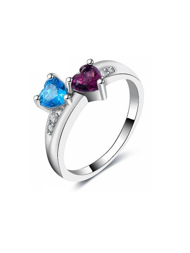 Double Heart Shaped Glass Bead Ring