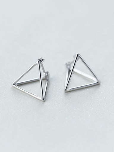 Delicate Triangle Shaped S925 Silver Stud Earrings