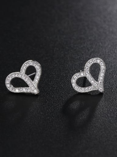 Copper With Platinum Plated Simplistic Heart Stud Earrings