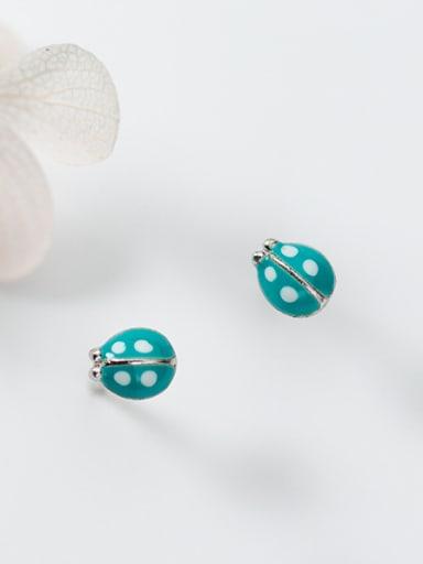 Lovely Ladybug Shaped S925 Silver Enamel Stud Earrings