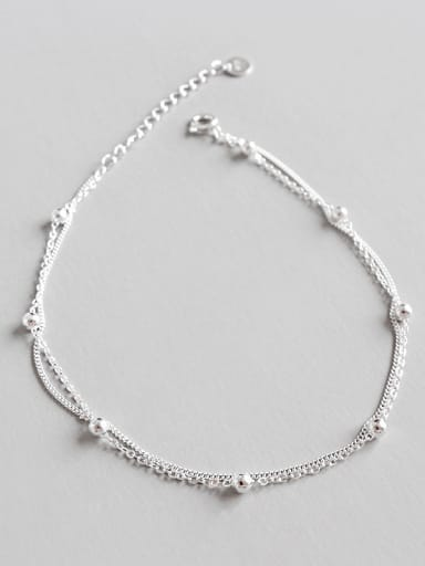 925 Sterling Silver With Silver Plated Personality Beads double chain Anklets