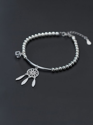 925 Sterling Silver With Platinum Plated Simplistic Irregular Bracelets