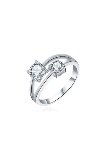 Fresh Platinum Plated Double Zircon Ring