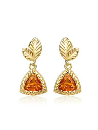 S925 Silver Natural Yellow Crystal 14K Gold Plated Drop Earrings