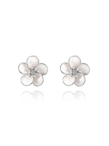 Elegant Plum Blossom Shaped Opal Stud Earrings