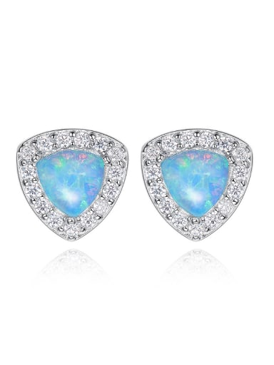 Fashion Tiny Triangle Opal stone Cubic Zirconias 925 Silver Stud Earrings