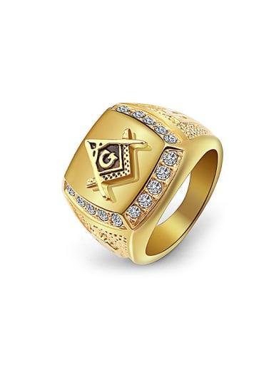Gold Plated Freemason Logo Rhinestones Signet Ring
