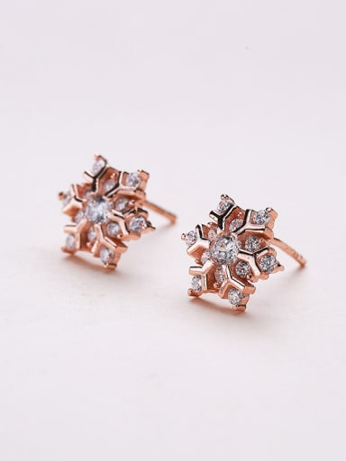 Rose Gold Plated Snowflake Earrings