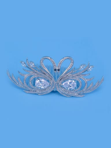 Micro Pave Zircons Double Swans Crown-shape Hair Accessories
