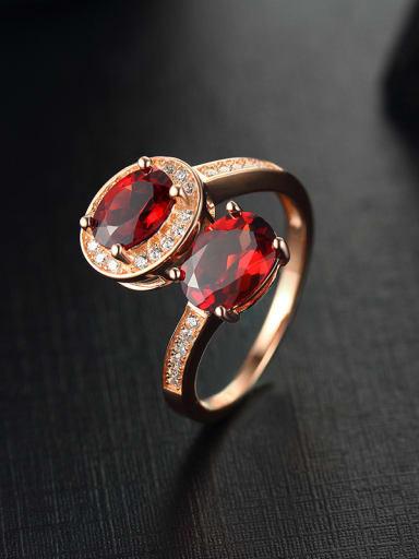 Rose Gold Plated Garnet Gemstones Opening Cocktail Ring