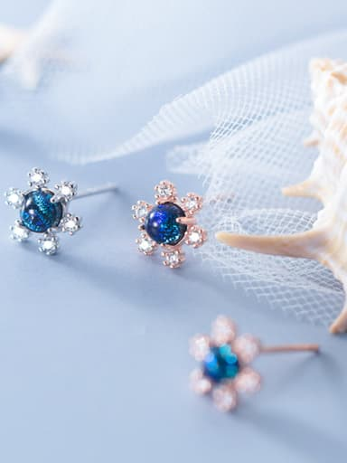 925 Sterling Silver With Cubic Zirconia Cute Flower Stud Earrings