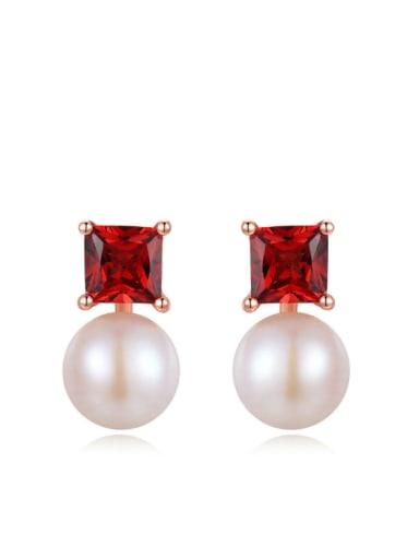 Geometric Shaped White Freshwater Pearls Drop Earring