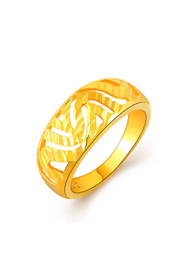 Personality 24K Gold Plated Hollow Design Copper Ring