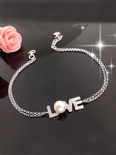 Fashion Freshwater Pearl Monogram Bracelet