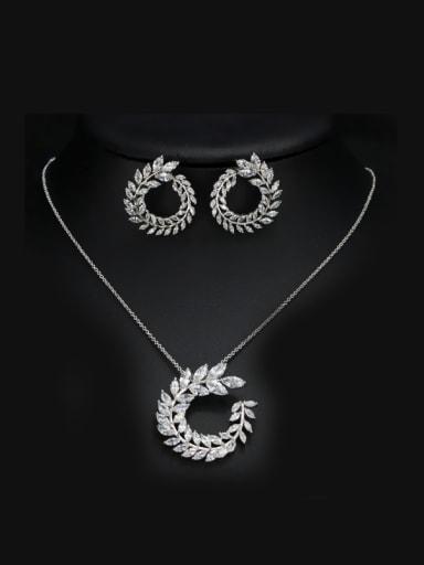 Elegant  Leaf-shape Two Pieces Jewelry Set