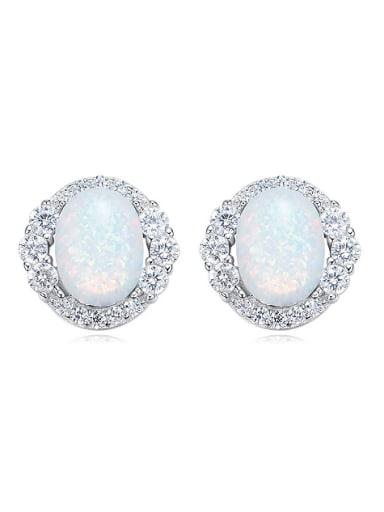Tiny Oval Opal stone Zirconias 925 Silver Stud Earrings