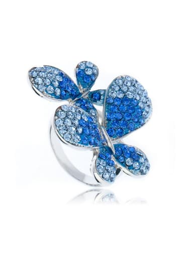 Exaggerated Double Blue Butterflies Rhinestones Alloy Ring