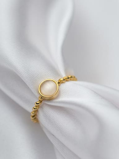 Trendy Gold Plated Round Shaped Opal Silver Ring
