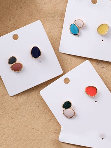 Alloy With Rose Gold Plated Simplistic Asymmetry Oval Stud Earrings