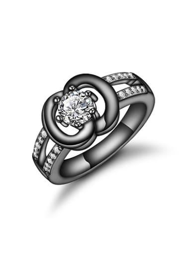 Creative Black Gun Plated Apple Shaped Zircon Ring