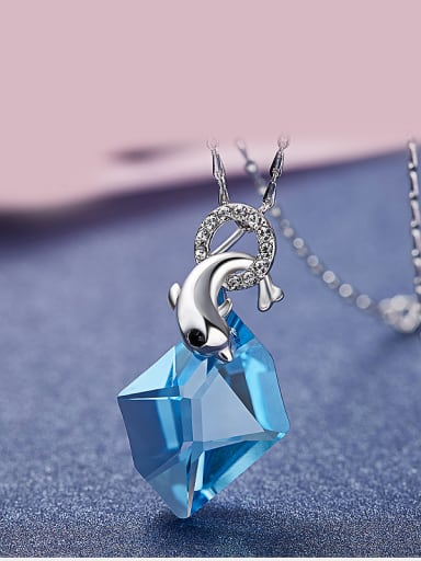 925 Silver Dolphins Shaped Necklace