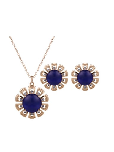 2018 2018 2018 Alloy Imitation-gold Plated Fashion Artificial Stones Two Pieces Jewelry Set