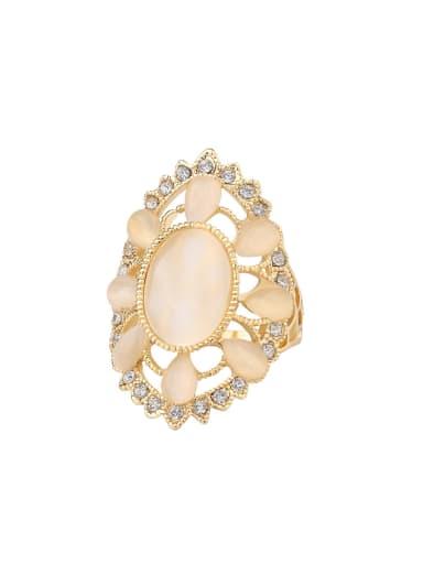 Fashion Elegant Opal stones Hollow Alloy Ring