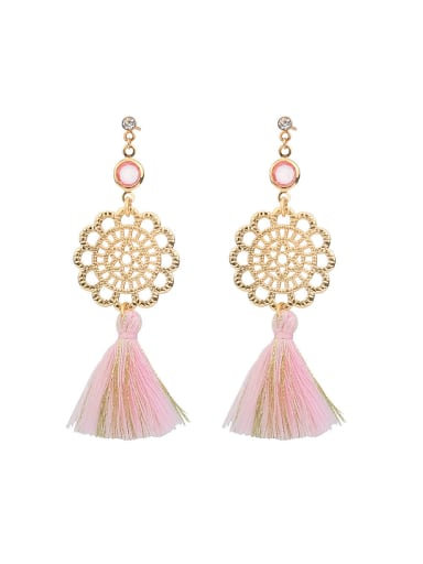 Ethnic style Pink Tassel Gold Plated Alloy Drop Earrings