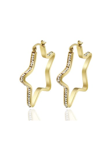 Exquisite Gold Plated Star Shaped Rhinestone Drop Earrings