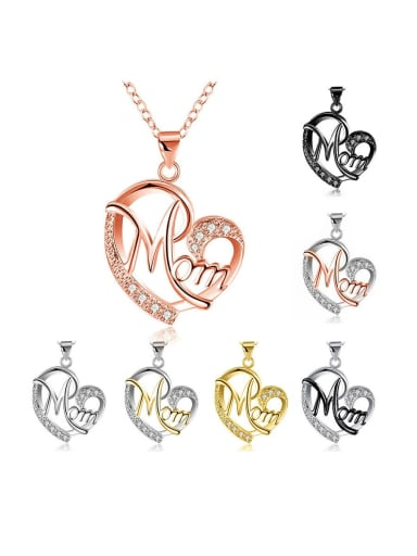 Copper With Cubic Zirconia Simplistic Color separation heart shape Necklace