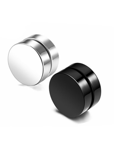 Stainless Steel With Black Gun Plated Simplistic Round Stud Earrings