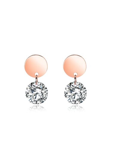 Simple Cubic Zircon Rose Gold Plated Stud Earrings