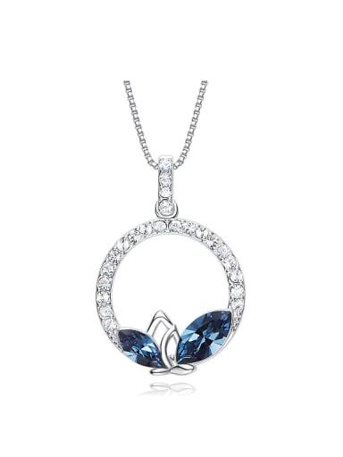Simple Swarovski Crystal Zircon Round Necklace