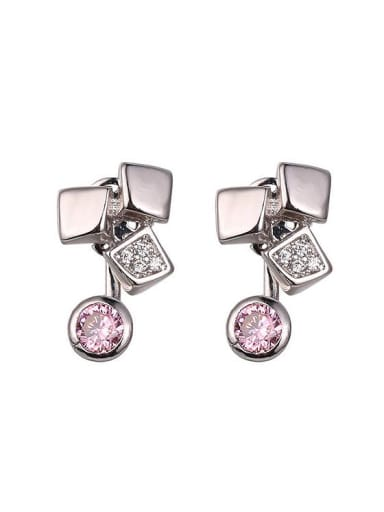 Copper Alloy White Gold Plated Fashion Creative Multiuse Zircon stud Earring