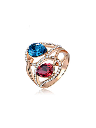 Elegant Double Color Water Drop Crystal Ring