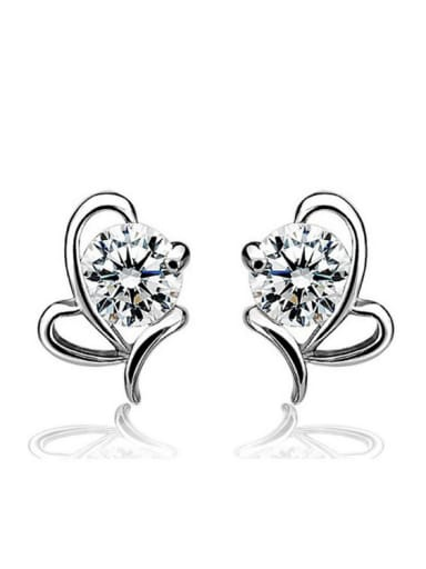 Heart Shaped Shining Zircons Women Stud Earrings
