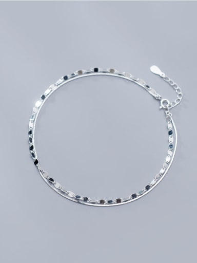 925 Sterling Silver With Platinum Plated Simplistic Irregular Double layer Anklets