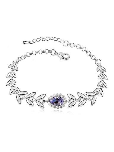 Fashion Water Drop Swarovski Crystals Leaves Alloy Bracelet