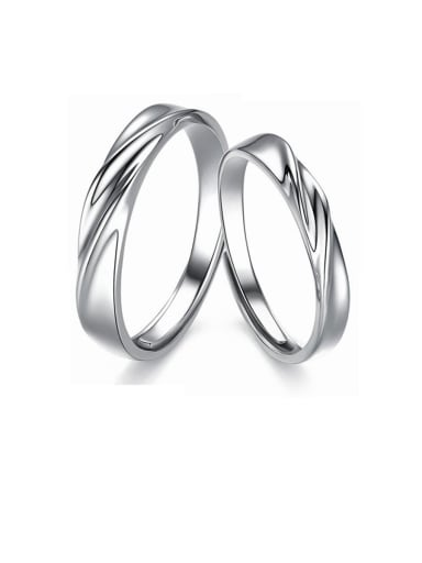 925 Sterling Silver With  Glossy   Simple  generous Lovers Free size  Rings