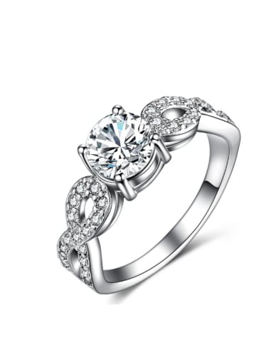Fashion Personality Zircons Silver Plated Women Ring