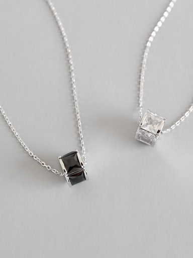 Sterling Silver minimalist geometric black and white zircons short necklace