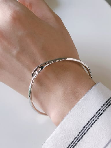 925 Sterling Silver With Platinum Plated Simplistic Irregular Free Size  Bangles