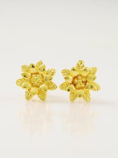 Vintage 24K Gold Plated Flower Shaped Stud Earrings