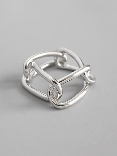 925 Sterling Silver Simple chain buckle female Rings